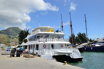 Catamaran boat in the port of Seychelles