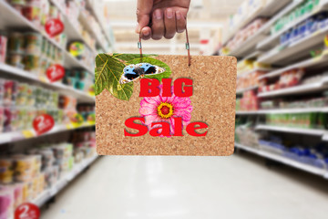 hand hold   brown cork board  information BIG SALE in the superm