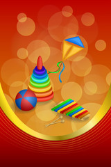 Background abstract toys pyramid ball kite blue green red yellow frame vertical gold ribbon illustration vector