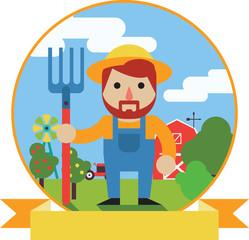 Farmer with pitchfork on farm garden background