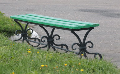 wrought-iron bench with legs