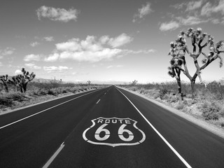 Deurstickers Route 66 Route 66 Mojave Desert Black and White