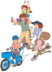 9-初めての自転車練習-ボク一人で乗れたよ~♪(右前方斜視+家族) [12インチサイズの幼児用自転車に乗って、補助輪無しで自転車に乗る練習をする男の子と、それを 優しく手助けする母親と家族の風景です。]