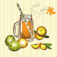 hand drawn jar juice and fruits