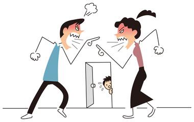 夫婦喧嘩をみている子供