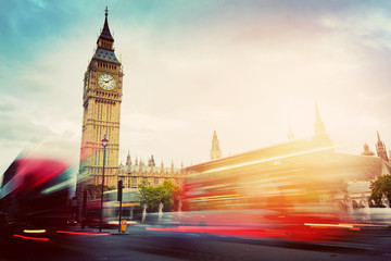 Wall Mural - London, the UK. Red buses and Big Ben, the Palace of Westminster. Vintage