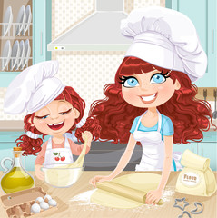 Cute curly hair mom and daughterl baking cookies