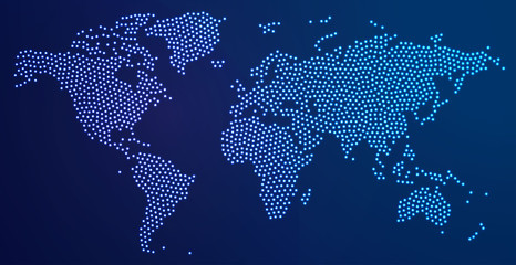 Dotted world map with spot lights. Vector illustration