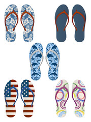 Set of colourful, decorated flip flops, EPS 10 contains transparency.