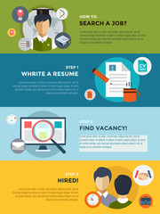 Job search after university infographic. Students, labor