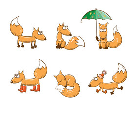 Set with six cute cartoon foxes. Autumn time, rainy weather, warm clothes.