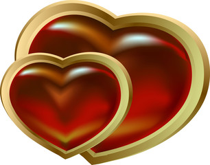 two shining claret gold hearts
