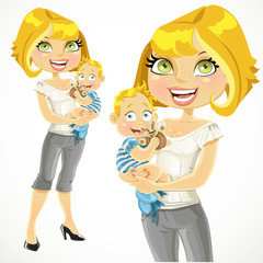 Pretty blond mom with her son in her arms