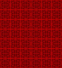 Seamless Chinese window tracery square line pattern background.