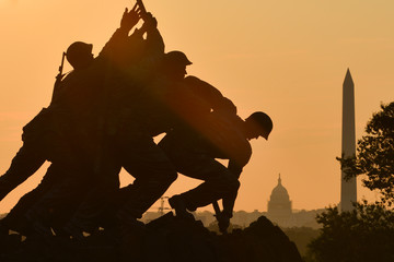 Iwo Jima Memorial silhouette in Washington DC, United States