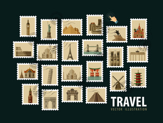 travel, vacation vector logo design template. postage stamp or