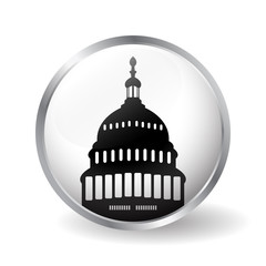 Capitol building icon button vector