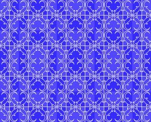Neon sign crocodile pattern - Blue White
