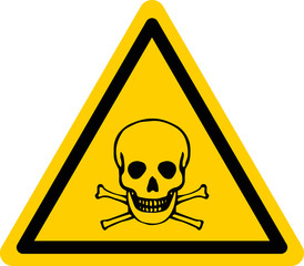Vector danger sign with skull and bones