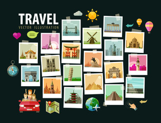 Travel, vacation vector logo design template. photograph or