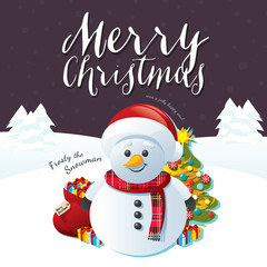 Merry Christmas Snowman on a Purple Background