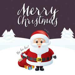 Merry Christmas Santa on a Purple Background