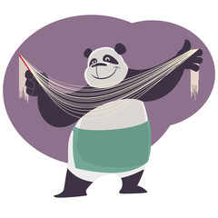 Cheerful cartoon cook Panda shows handmade chinese noodles.