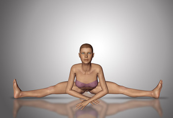 3D female figure in yoga position