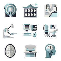 Flat color icons for CT scan. MRI