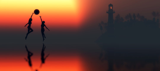 lighthouse and woman