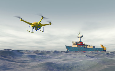 High quality 3D render of a UAV drone flying over water to a distant ship. UAV drone and ship are fictitious. Bright blue partially overcast sky, and motion blur for dramatic effect. Wall mural