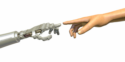 High quality 3D render of a robot hand touching a human hand, representing the relationship between human and artificial intelligence. Warm green reflections on robot hand, isolated on white.