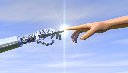 High quality 3D render of a robot hand touching a human hand, representing the relationship between human and artificial intelligence. Bright blue overcast sky, lens flare for dramatic effect.