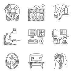 Flat line vector icons for CT scan. MRI