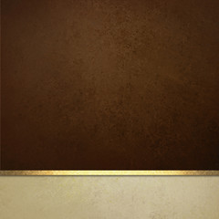 dark brown background website or poster layout, fancy elegant off white vintage textured footer with gold ribbon trim, luxury background template design