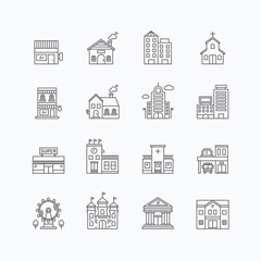 vector linear web icons set - buildings collection of flat line