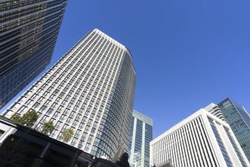 丸ノ内 高層ビル群 快晴 青空
