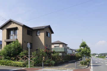 分譲住宅街 イメージ 青空 コピースペース