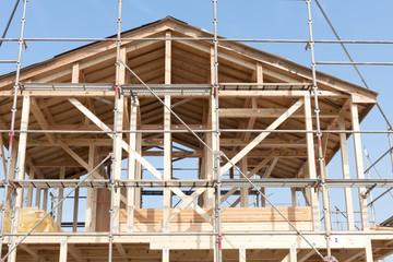 分譲住宅 木造2階建て住宅の建築現場 イメージ 木造軸組工法