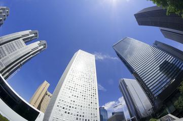 新宿高層ビル街 快晴 青空 超ワイド 魚眼レンズ 見上げる 太陽 フレア コピースペース