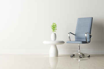 office chair and white table in the room