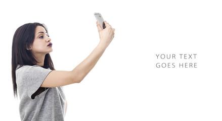 Beautiful woman profile portrait taking a selfie card