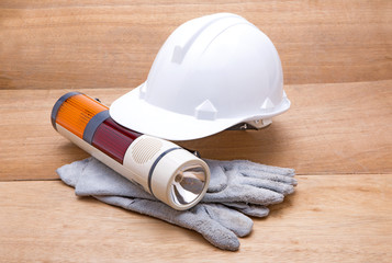 Construction tools on white background. Arrangement of hard hat,
