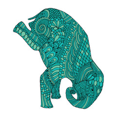 Stylized fantasy patterned elephant. Hand drawn vector illustration with floral elements. Original hand drawn elephant