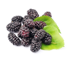 Ripe mulberry with leafs