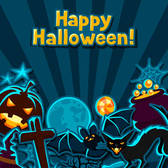Happy halloween greeting card with stickers characters and