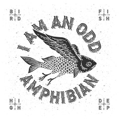 "T-shirt print with mythological flying fish and slogan ""I am an odd amphibian"""