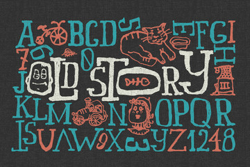 """Old story"" handmade font with cartoon style illustrations"
