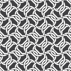 Seamless pattern of intersecting dumbbells with swatch for filling. Celtic chain mail. Fashion geometric background for web or printing design.