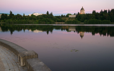 Government Building Capital Lake Olympia Washington Sunset Dusk